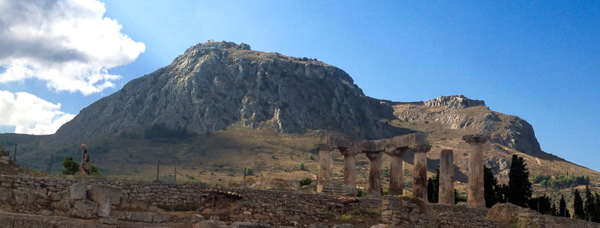 The-acrocorinth-castle-of-Corinth-in-Peloponnese-of-Greece