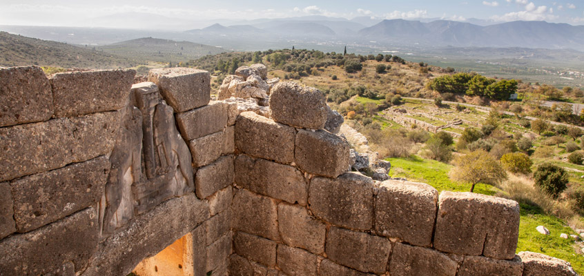 Archaeological-site-of-Mycenae-Lion-Gate--of-Peloponnese-in-Greece
